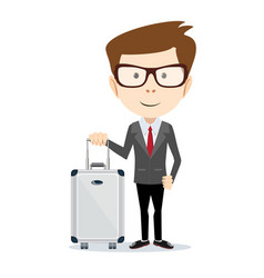 Elegant businessman with suitcase outside airport vector