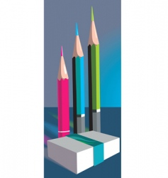 eraser and pencils vector image vector image