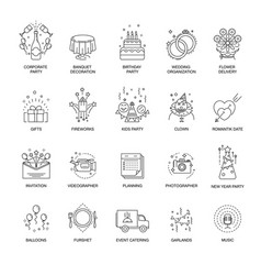 Event and party line icons set for wedding vector