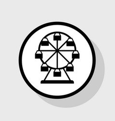 Ferris wheel sign flat black icon in vector