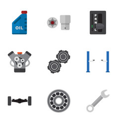 Flat icon workshop set of motor turnscrew petrol vector