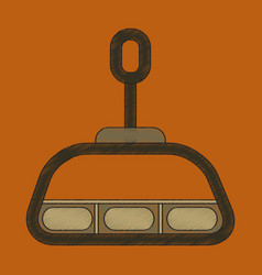 Flat shading style icon cabin ski lift vector
