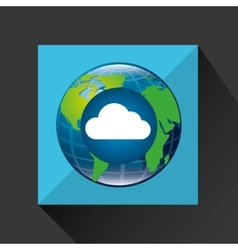 Globe world cloud connection service vector