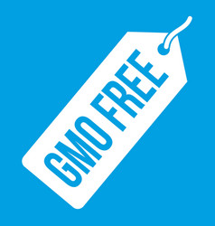 Gmo free price tag i icon white vector