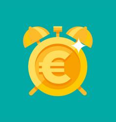 gold alarm clock with euro symbol vector image vector image