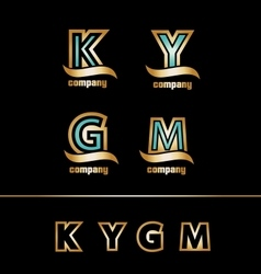 Gold golden letter logo icon set vector image