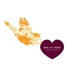 Golden art flowers birds holding heart silhouette vector