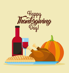 happy thanksgiving day food traditional dinner vector image