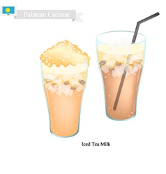 Iced tea milk a famous beverage in palau vector