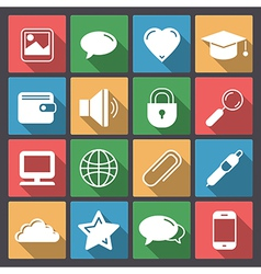 icons set for web in flat design vector image vector image