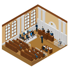 isometric judicial system concept vector image vector image