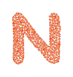 letter n made of valentines vector image vector image