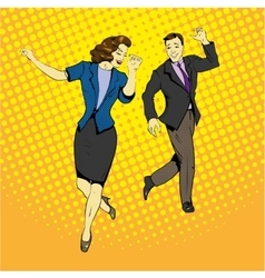 Man and woman dancing with paper documents flying vector