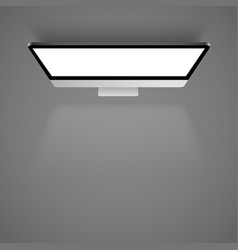 monitor white light top view background vector image vector image