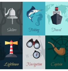 Nautical mini posters set vector image