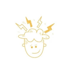 Person with the head sparkling ideas vector