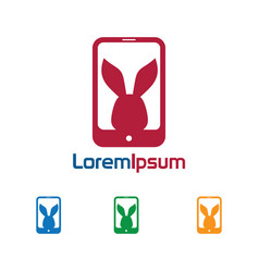 phone rabbit logo vector image vector image