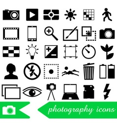 Photography and camera theme black simple icons vector