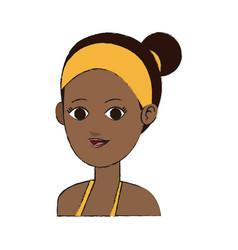 Pretty young dark skin woman icon image vector