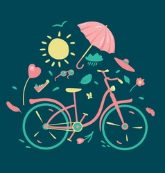 Spring composition with a bycicle vector image vector image