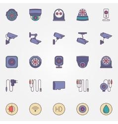 Surveillance cameras icon set vector