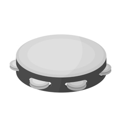 Tambourine icon in monochrome style isolated on vector