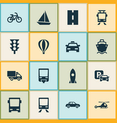 Transport icons set collection of chopper vector