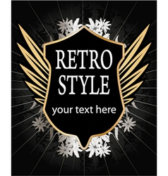 vintage gold shield with wings vector image vector image