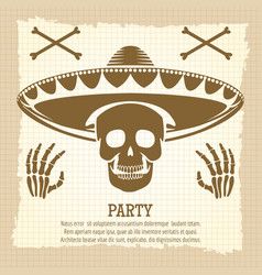 vintage party poster with skull vector image vector image