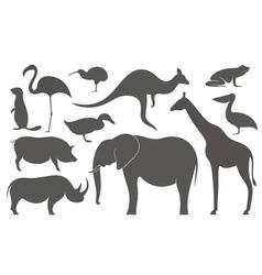 Wild animals africa silhouette vector