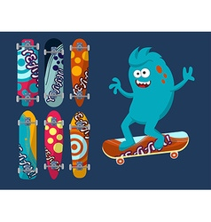 Set of bright skateboard on a dark background with vector