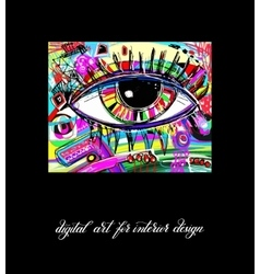 Original contemporary digital eye painting artwork vector