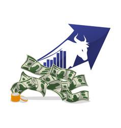 money economy bull arrow financial vector image