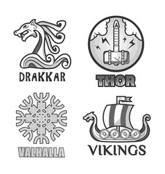 Viking scandinavian ancient warriors labels set of vector