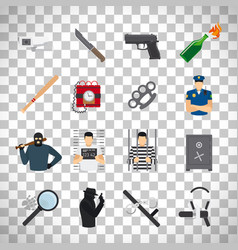 Crime icons set on transparent background vector