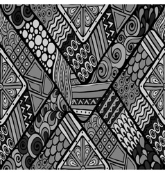 Tribal doddle rhombus seamless background vector