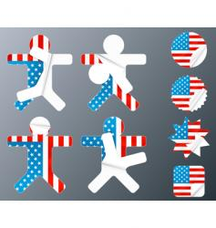 Usa collection of peeling stickers vector