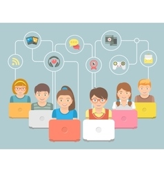 Kids with Computers and Social Media Icons vector image