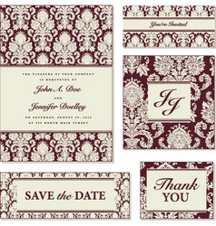 Vector red damask frame set vector