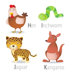 Alphabet with animals from h to k set 2 vector
