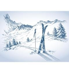 Ski background mountains in winter season vector