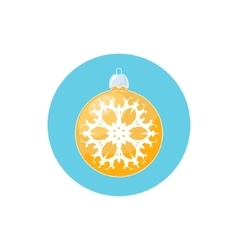 Icon yellow ball with snowflake vector
