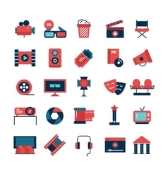 Flat color cinema icons vector