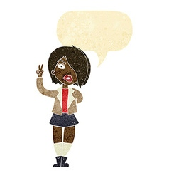 Cartoon cool girl giving peace sign with speech vector