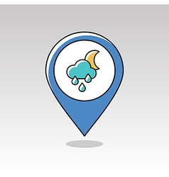 Rain cloud moon pin map icon meteorology weather vector