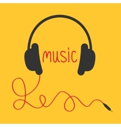 Headphones with red cord and word music music vector