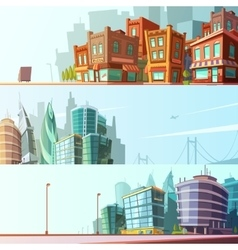 City skyline 3 horizontal banners set vector