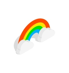 Rainbow and clouds icon isometric 3d style vector