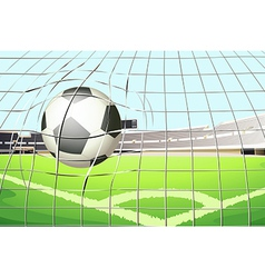 A ball hitting the soccer goal vector image vector image