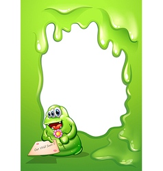 A border with a fat green monster holding a card vector image vector image